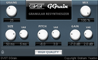 granular resynthesis vst The tone and time machines offer interesting sample mangling features based on granular resynthesis the time machine does real-time time stretching and pitch shifting assign a sample to a range of keys, for example, and each key can play the sample at a different tempo but maintain the same pitch.